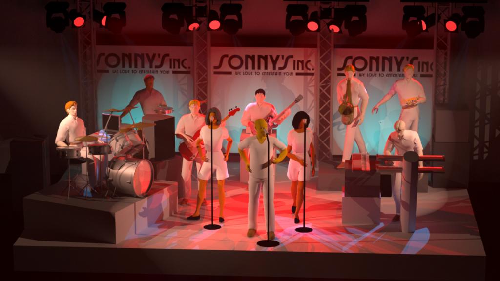 Opstelling Sonny's Inc. met Angels & percussie