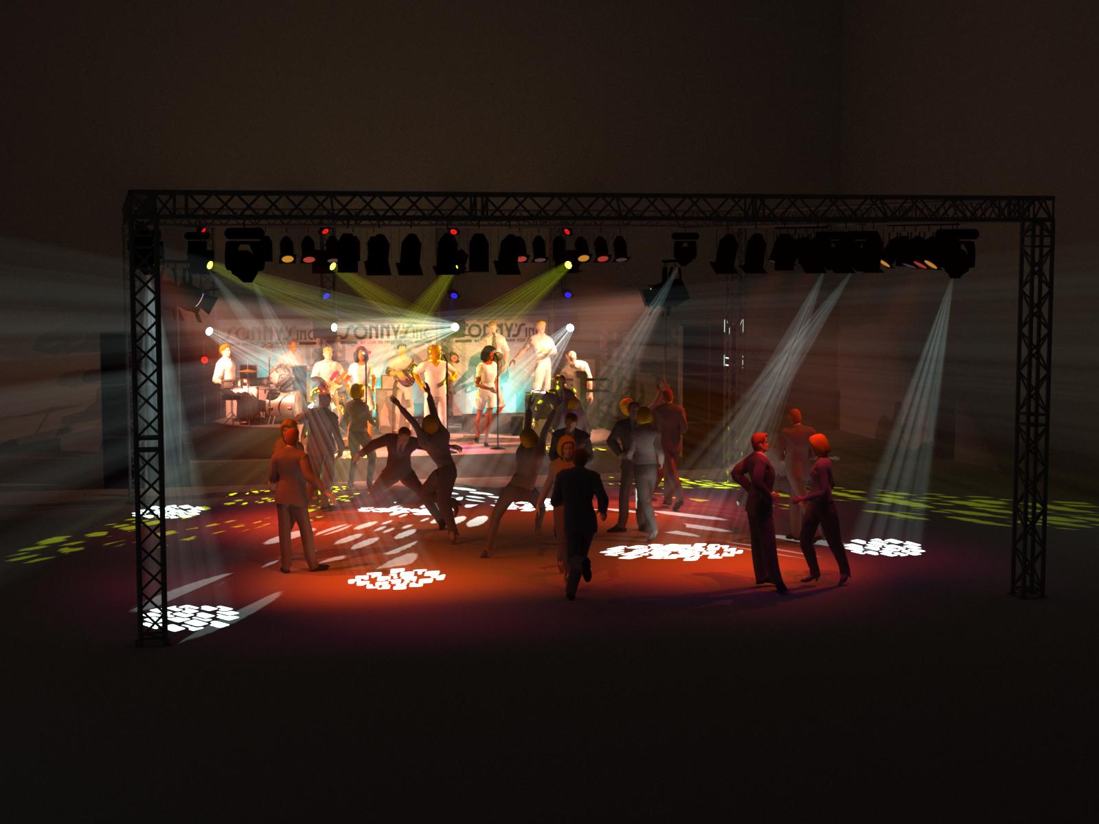 Opstelling Sonny's Inc. groot met trusscarré voor dansvloer