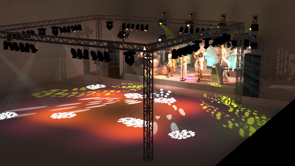 Opstelling Sonny's Inc. groot met trusscarré voor dansvloer boven/zijaanzicht
